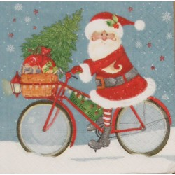 Servetten Santa on a Bike