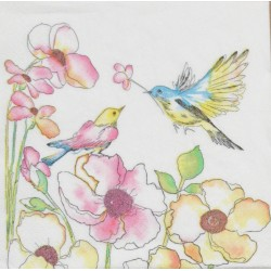 Servetten Watercolour Birds & Flowers