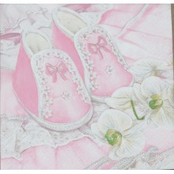 Servetten Christening Shoes Pink