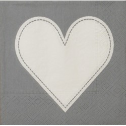 Servetten Heart grey